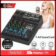 Bộ Trộn Âm Thanh Mini FreeGreen F-A4, Thiết Bị Khuếch Đại Âm Thanh 4 Kênh Đầu Ghi Âm Phantom Bluetooth Kèm Thẻ Âm Thanh