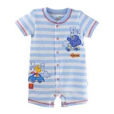 Harga Clafishope Short Romper Bayi Laki Laki Soft Blue Stripe Frml020Sb Branded