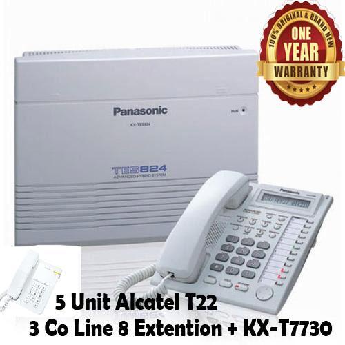 Panasonic Best Seller Murah PABX PBX KX-TES824 TES-824 TES 824 Telepon Telephone 3 Co Lines 8 Extension ( Include KX-T7730 + 5 Unit Alcatel T22 ) Bergaransi Resmi