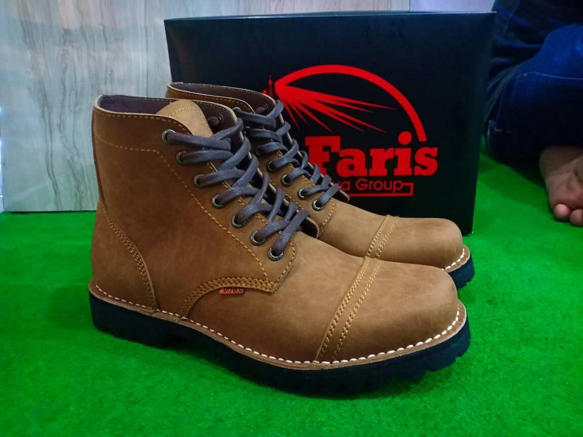 Sepatu Boots Kulit Asli Terbaru Pria - DR FARIS BA01 - Tan - Sepatu Pria Sepatu Kulit Asli