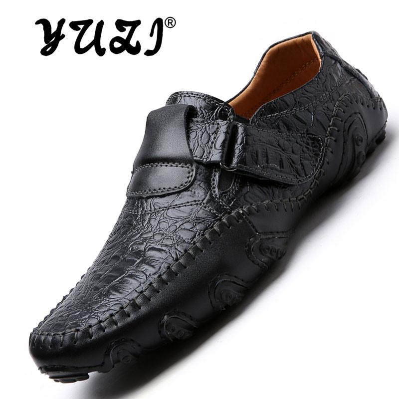 2018 Baru Pria Lembut Kulit Loafer Sepatu Datar Pria Tergelincir Moccasin Carrefour SEPATU