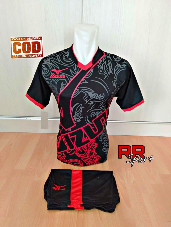 ca6cd74ae Baju Kaos Olahraga Jersey Setelan Bola Futsal Voli Mz 16 Hitam Merah