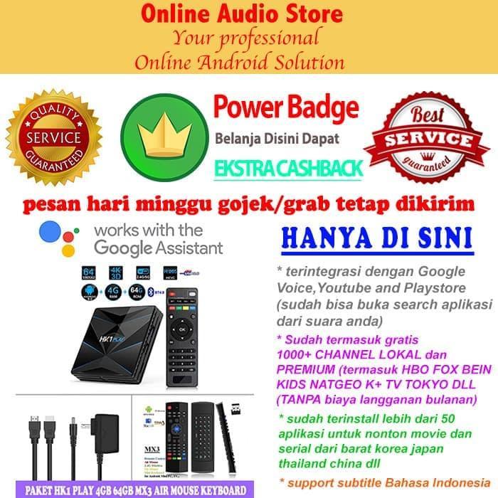 -Paket Android Tv Box HK1 PLAY 4GB 64GB + MX3 Air Mouse Keyboard -READY COD - TERSEDIA JUGA - stb android tv box/tv box android/android tv box ram 4gb/set top box tv digital/smart tv box/xiaomi mi box tv