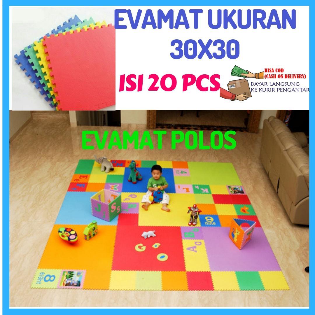 Mainan Anak Evamat Polos (30x30cm) 20 Pcs Playmat Matras Puzzle Karpet Tikar Puzzle Alas Lantai Modern Serbaguna By Mainan Pasir Ajaib.
