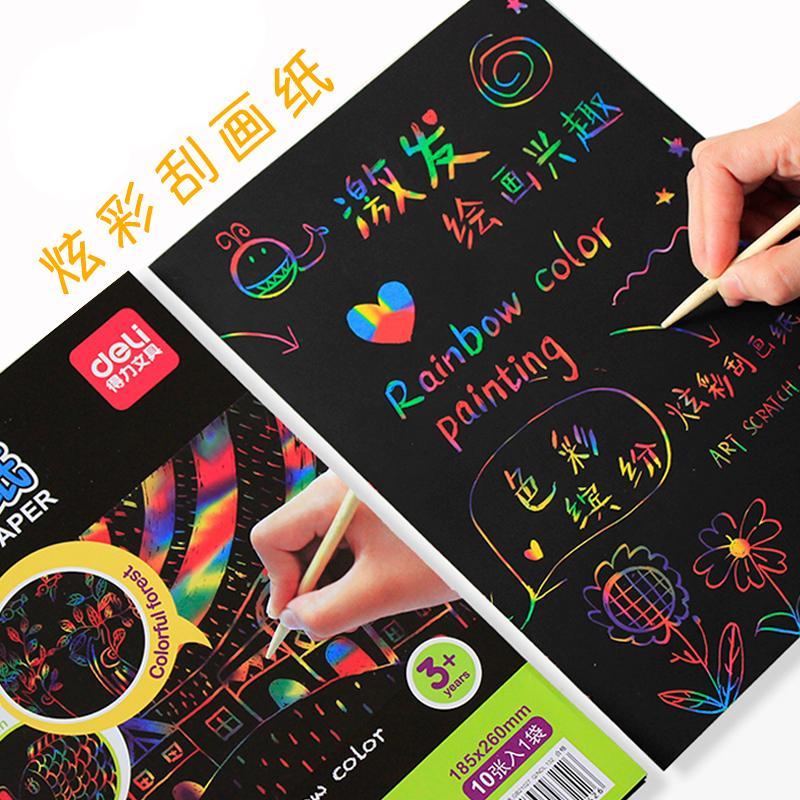 30 Deli anak-anak Warna Warni Lukisan Sketsa Kertas kreatif siswa sekolah  dasar hitam Lukisan Sketsa TK Warna Warni menggambar lukisan Kertas
