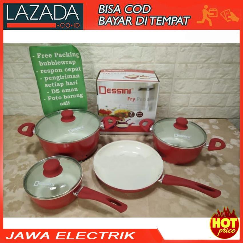 Panci Set Ceramic Dessini 7pcs (4in1) / Frypan / Wajan Anti lengket
