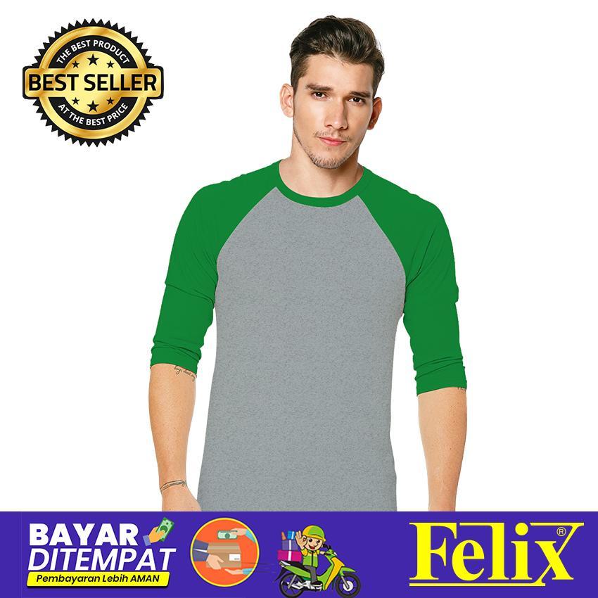 FELIX Kaos Raglan Polos Pria Premium Hitam Lengan Pendek  O-Neck Combed 30s Premium Distro /Baju Kaos Distro Kaos Raglan Pria / Kaos T Shirt Raglan Cowok dewasa / Raglan 3/4 Misty - Tangan Warna Kombinasi / Kaos Keren Terbaru / Kaos Atasan cowok / Casual