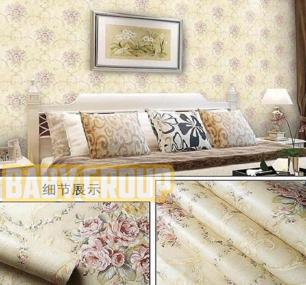 Wallpaper Stiker Dinding Motif Dan Karakter Premium Quality Size 45cm X 10m Batik Kembang Cream / Gold Baby028 By Baby Shop Wallpaper.