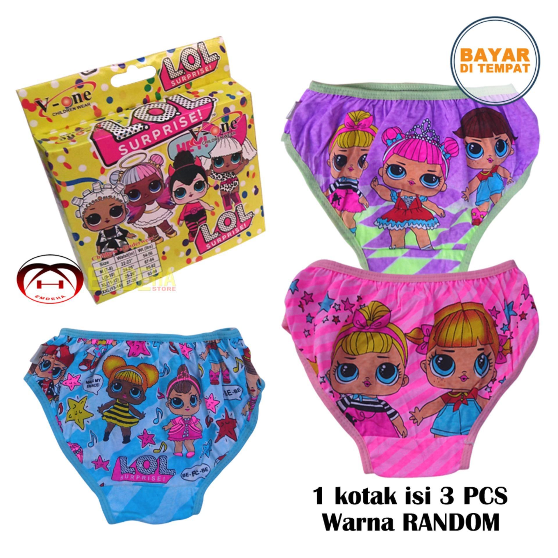 Emdeha Store - 3 Pcs Celana Dalam Anak Perempuan Motif Karakter Gaul Dan Keren Size M, L Dan Xl By Emdeha Store.