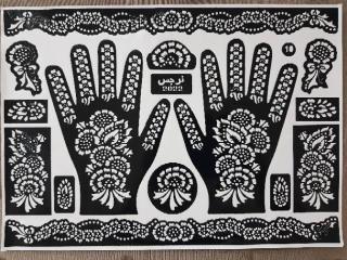 Cetakan tato henna Tangan HITAM ( 1 pcs stiker ) Body art Stiker lukis Henna Bisa COD thumbnail