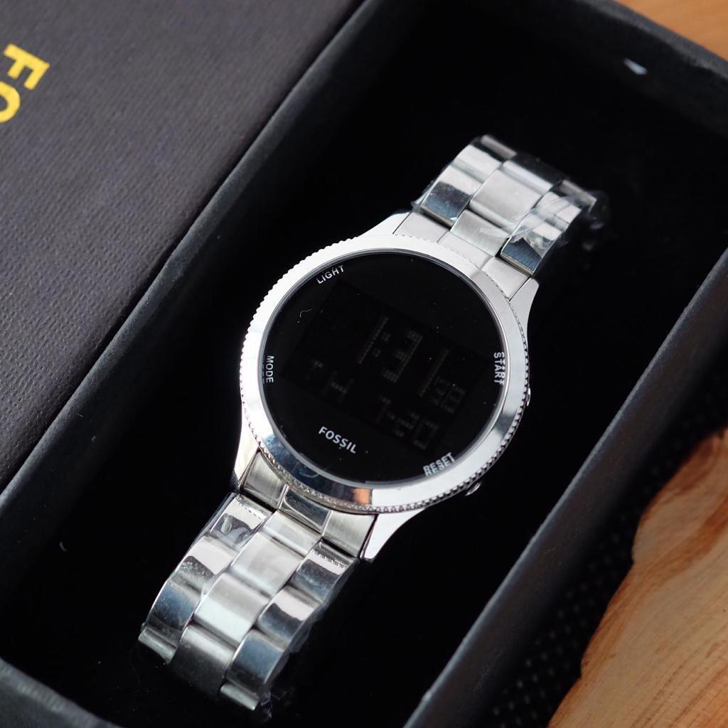 jam tangan fossil wanita digital rantai Stainles tanggal hari aktif (COD)