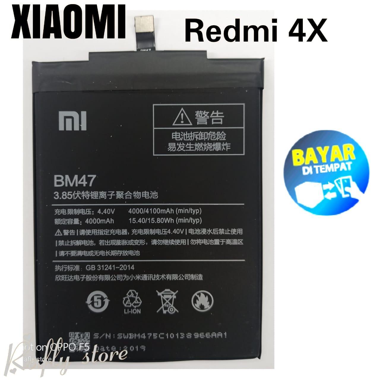 Rafly; Batrai Xiaomi BM47 (Redmi 4X) Baterai Android Batere Handphone Xiaomi Batre Battery