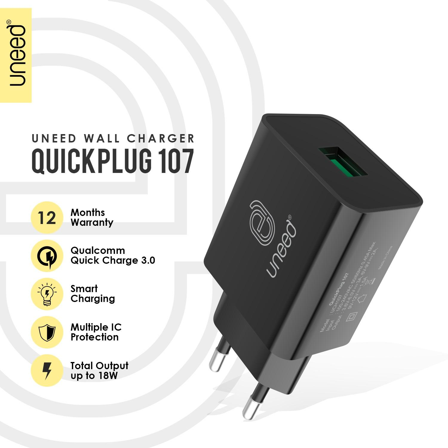 UNEED Quickplug 107 Qualcomm Quick Charge 3.0 - UCH107 - Original