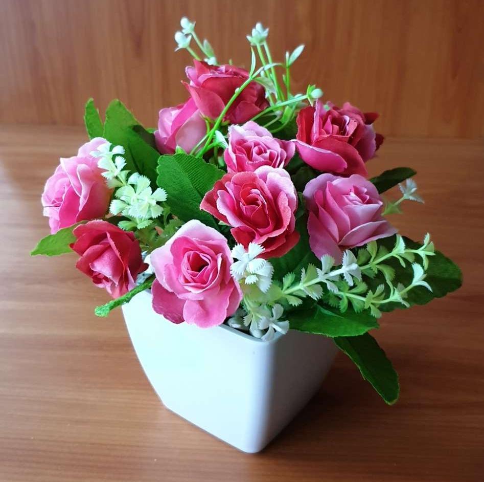 Bunga Rose Bunga Pajangan Bunga Hias Bunga Artifisial Pot Bulat 8898 ... f6de0eb8da