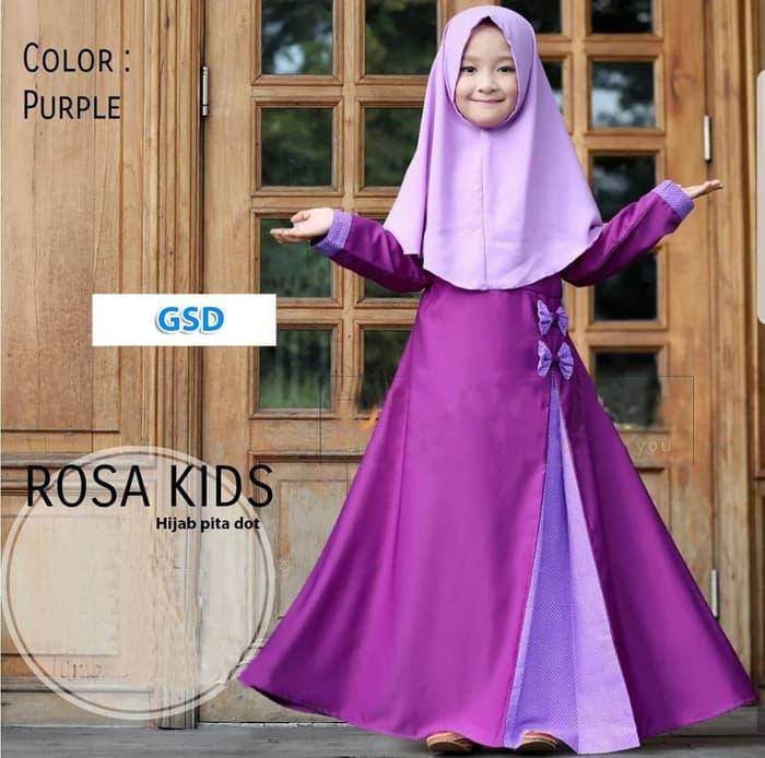 Gamis anak -baju muslim anak perempuan|hijab rose kids - Hitam