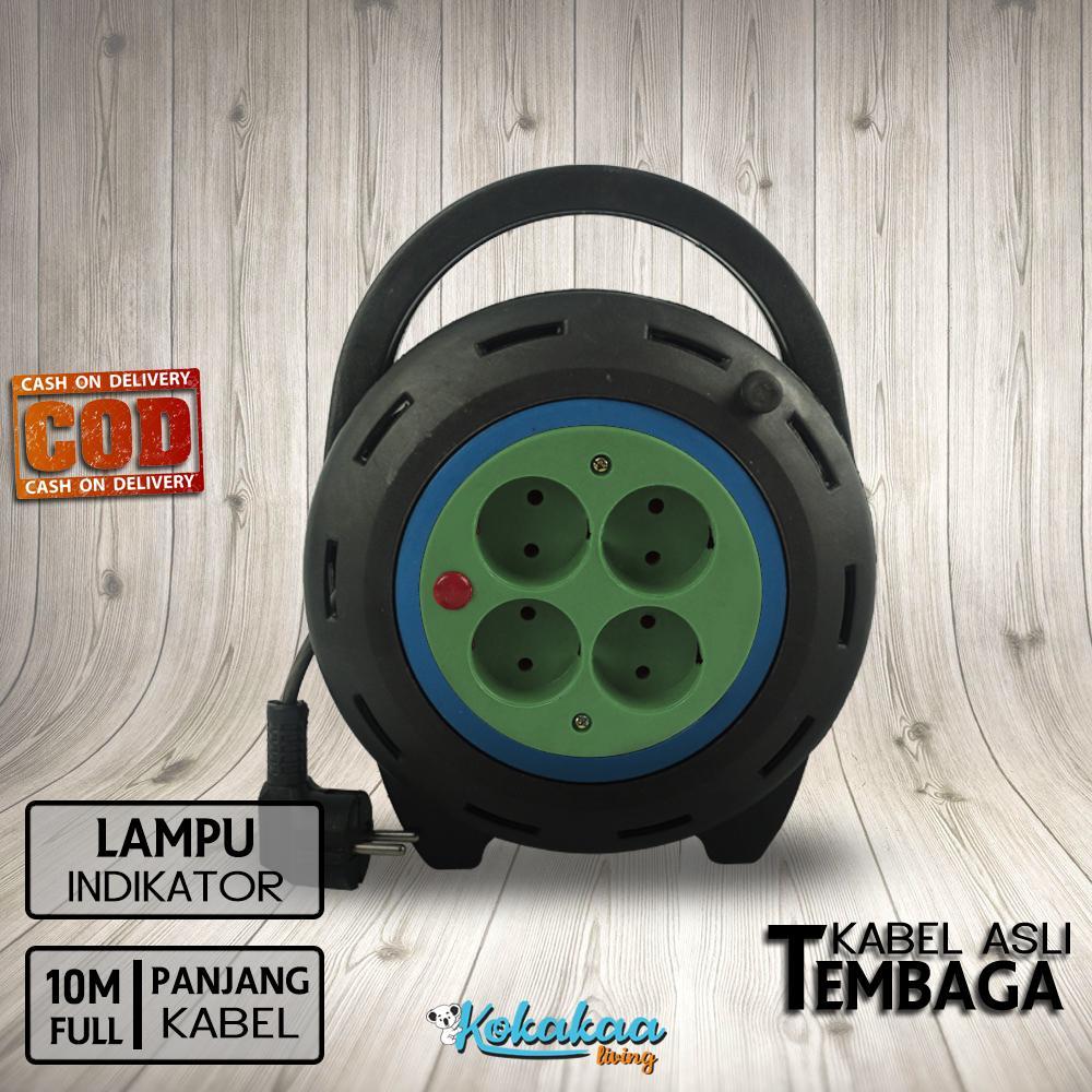 Phossco BOX KABEL ROLL 10 METER FULL Stop Kontak Listrik 4 Lubang Colokan with LAMPU Indikator High Quality