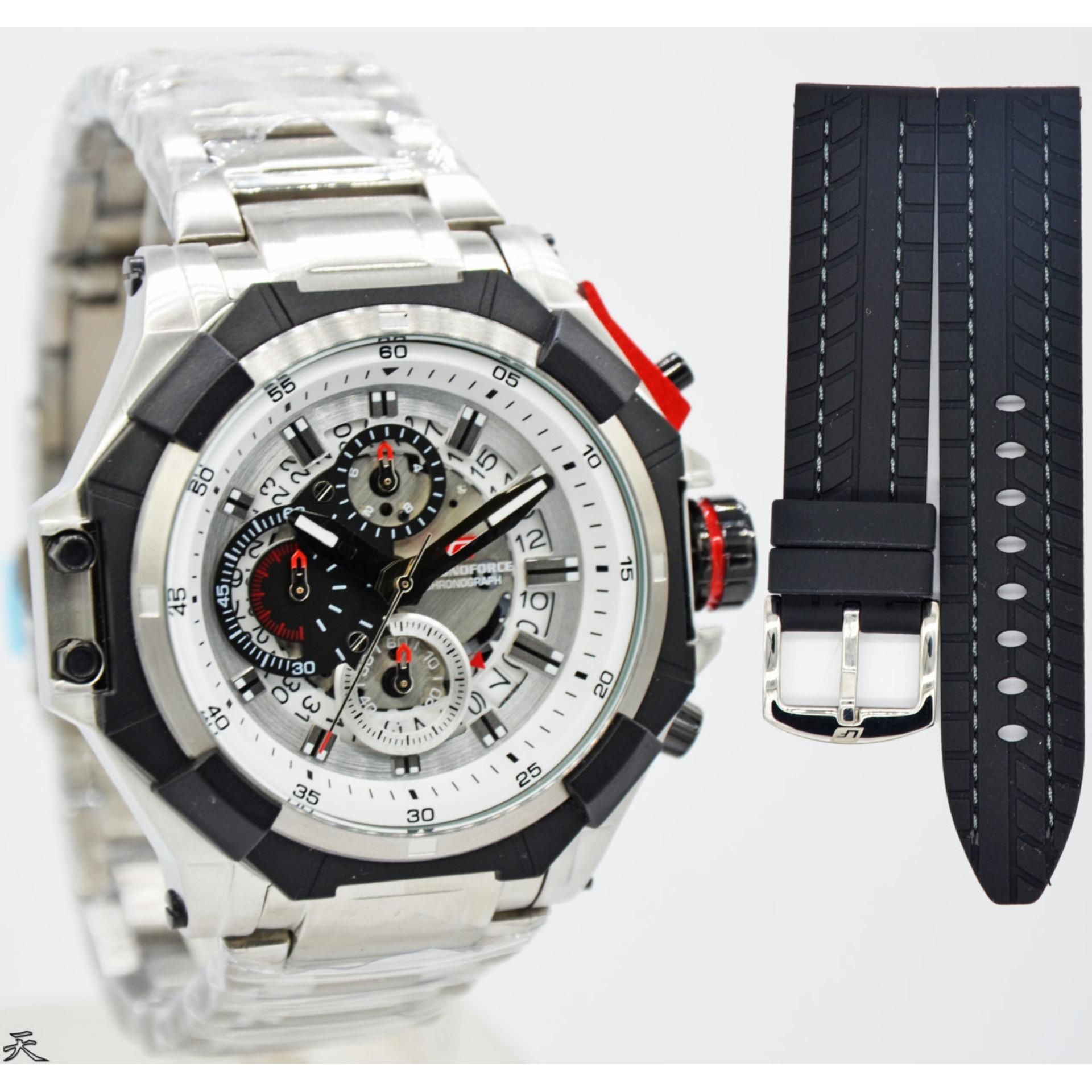 Chronoforce 5301M Jam Tangan Pria   Cowok Stainless Steel Free Tali Rubber ba2af3fe97