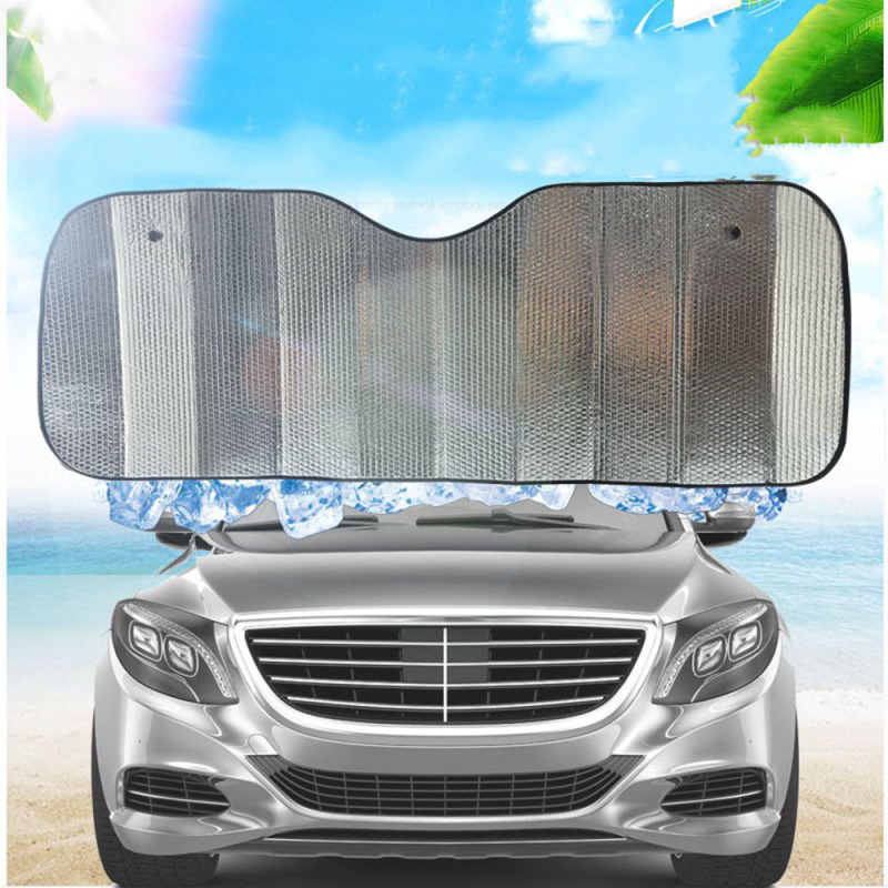 COMEOUTSTORE19E9 Folding Reflective Film Aluminum Foil With 2 Suction Cups Car Sun Shade Cover UV Protection Curtain Front Windshield Sunshade Windscreen Visor
