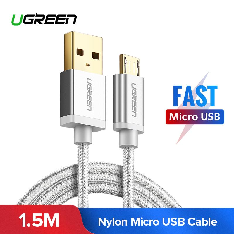 UGREEN 1.5M Kabel Data Micro USB for Xiaomi Redmi 5 Plus, Xiaomi Redmi 5, XIAOMI Redmi S2, XIAOMI Mi A2 Lite, XIAOMI Redmi 5A, Samsung J7, Vivo y83, Vivo v9, OPPO A77, Huawei nova 2i, Handphone Charger Cable Sync Data Charging Cable