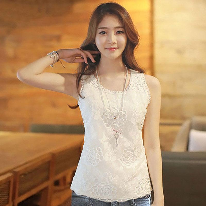d997601bd SZWL Summer Korean Dress Women Hollow Out Summer Sleeveless Casual Loose  Shirt Vest