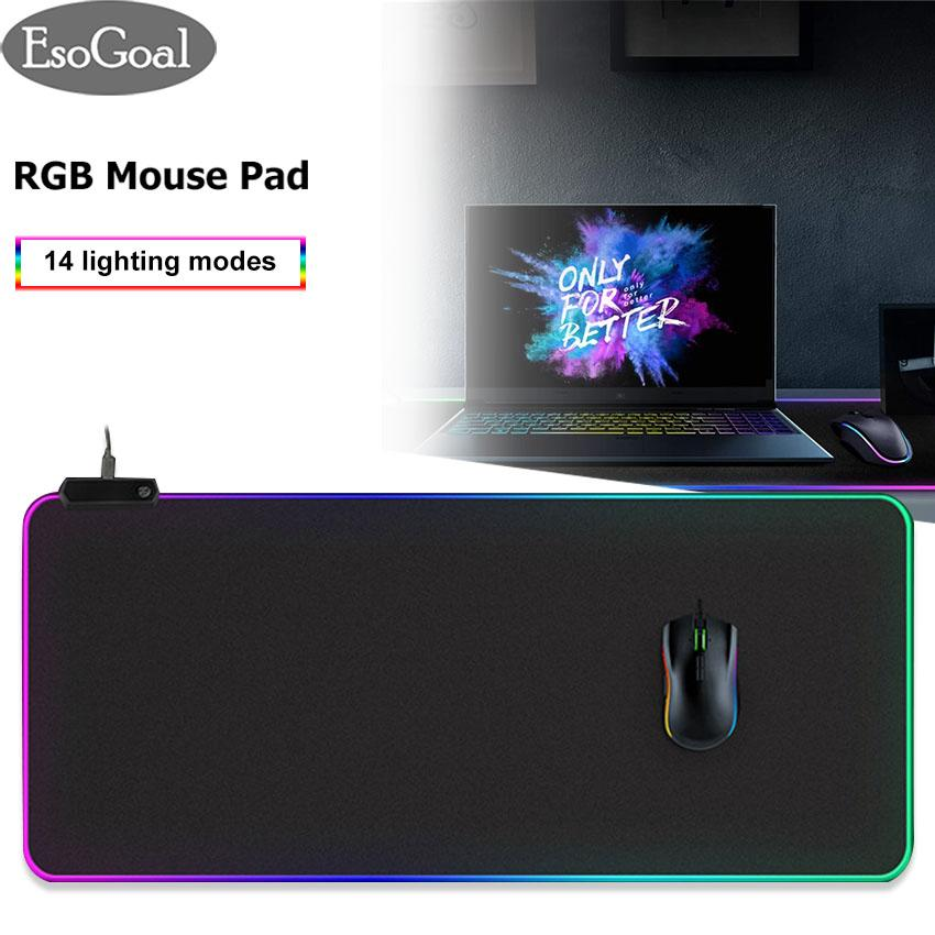 EsoGoal RGB Soft Gaming Mouse Pad Computer Keyboard Pad Mat Oversized Glowing Led Extended Mousepad with 14 Lighting Modes, 22.9*9.8 inches Malaysia