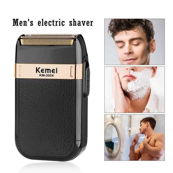 Jiuch Kemei KM-2024 Shaver For Men Waterproof Rechargeable Razor Shaving Machine Beard Trimmer Shaver USB Charging Wet and Dry Beard Trimmer Double Blade Alternative Electric Shaver Hair Clipper