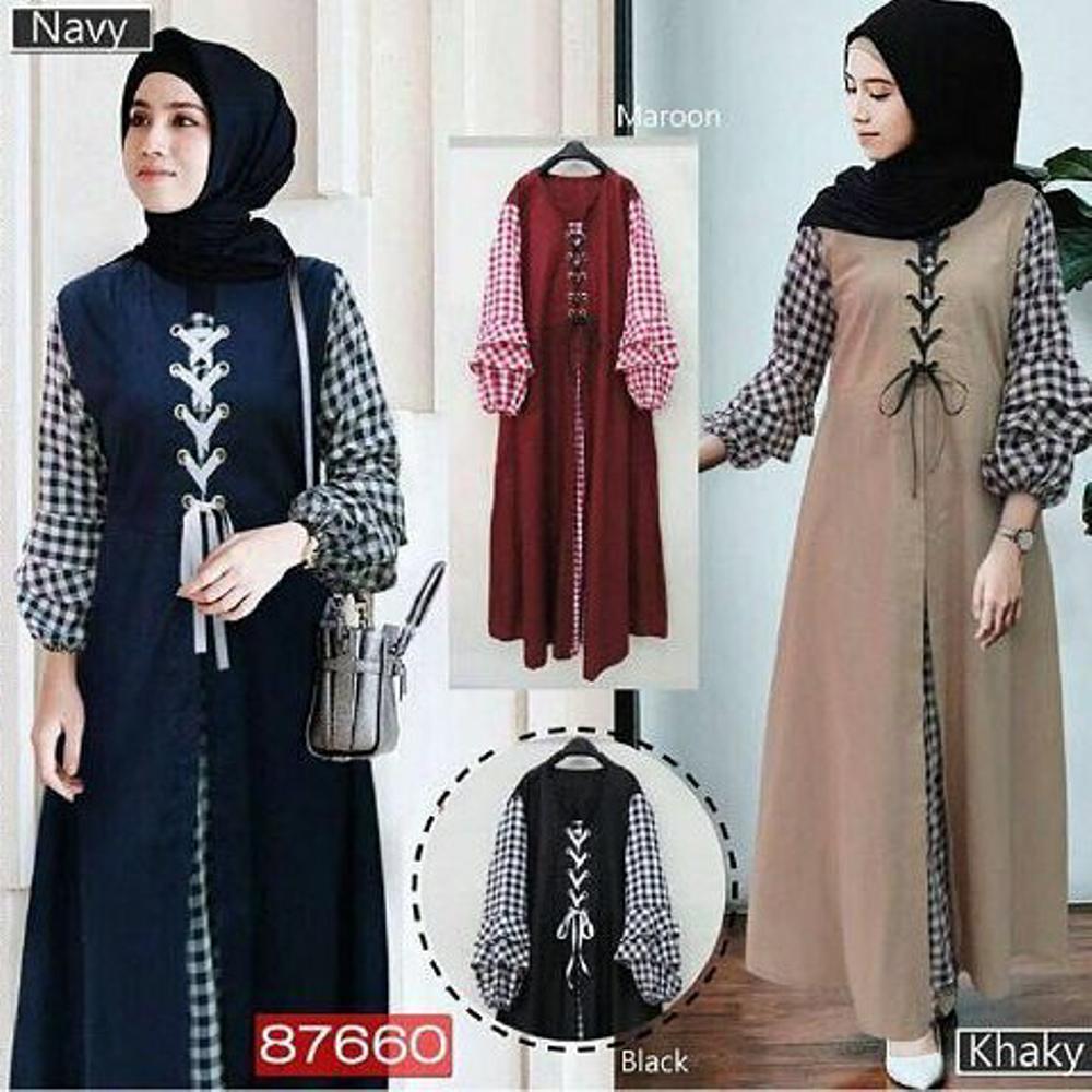 Baju Muslim Original Gamis Soimah Dress Baloteli Mix Katun Muslim Panjang  Dress Casual Wanita Pakaian Hijab fd0abfdbce