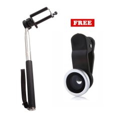 Promo Monopod Self Portraits Tongsis Hitam Lens Clip Fisheye 3In1 Silver Di Indonesia