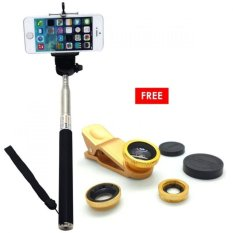 Jual Monopod Self Portraits Tongsis Hitam Lens Clip Fisheye 3In1 Gold Monopod Original