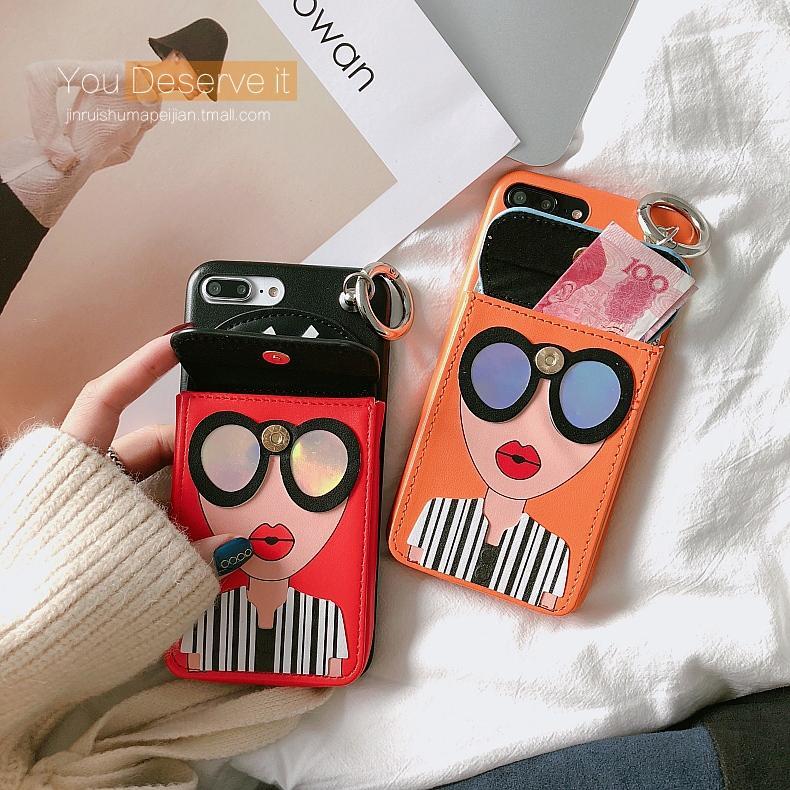 Jaringan Model Sama Tas iPhoneX Casing HP kepribadian kreatif Apple ID 6 S Masuk kartu sarung kulit Dompet Uang Receh iPhone7plus glamor wanita model baru soft Trendi Jepang Korea Selatan 8 p Casing 10 suasana