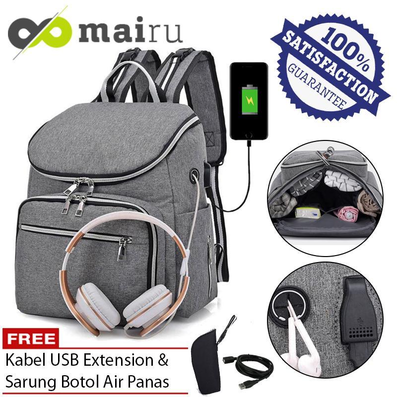Mairu 2202 Tas Ransel Diaper Bag / Mommy Bag / Tas Popok Susu Bayi Fashion Korea Dengan Headset dan USB Charger Port Free Sarung Thermal Botol Susu