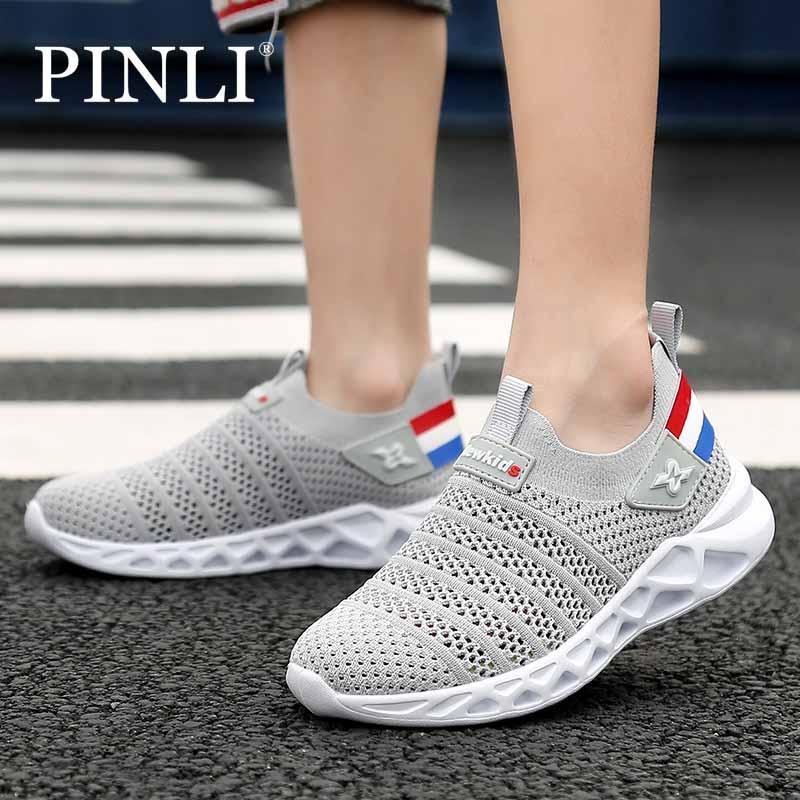 Pinli Sepatu Olahraga Dan Rekreasi Mode Terbang Anyaman Tunggal Sepatu Bernapas Pedal 28-39 By Pinli Shop.