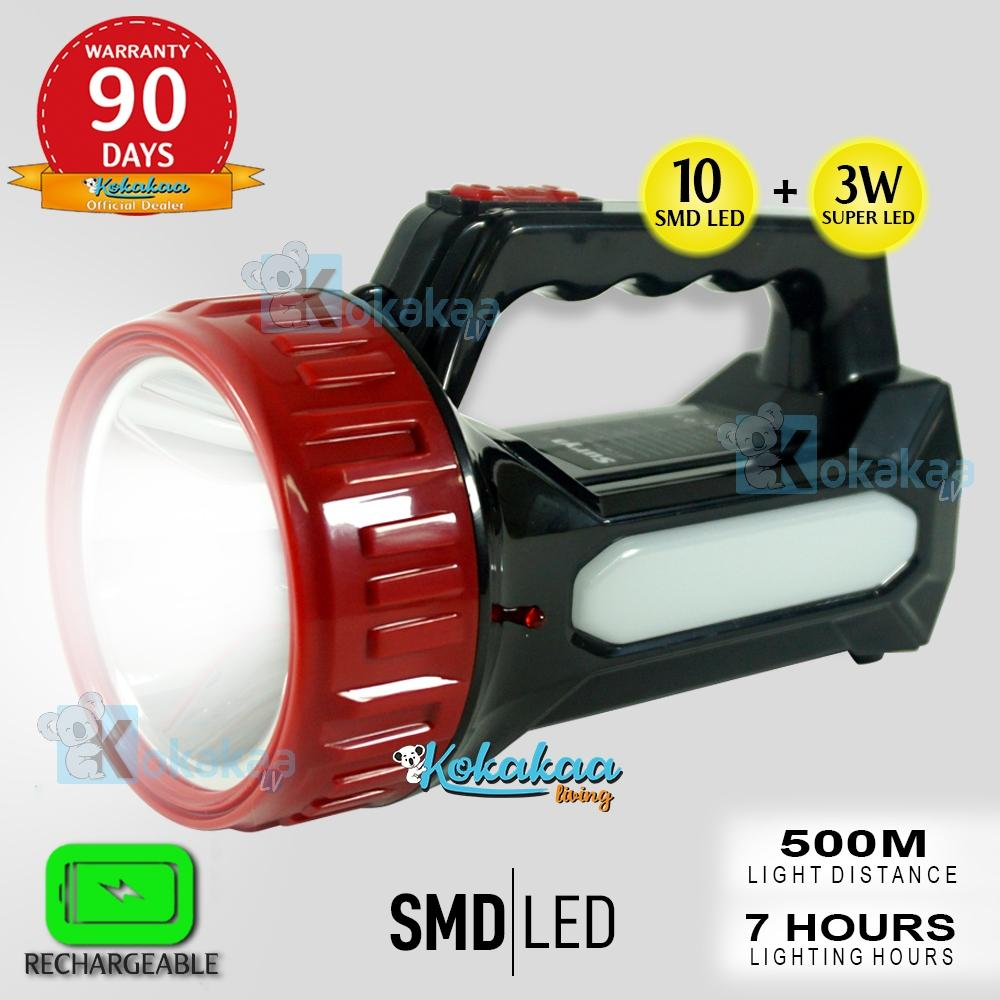 Bisa COD Surya Senter Led Lampu Emergency 2 in 1 SHT LED 3 Watt + Light LED 10 SMD Cas Tahan 7 Jam White Light Rechargeable 7 Hours 500 Meter