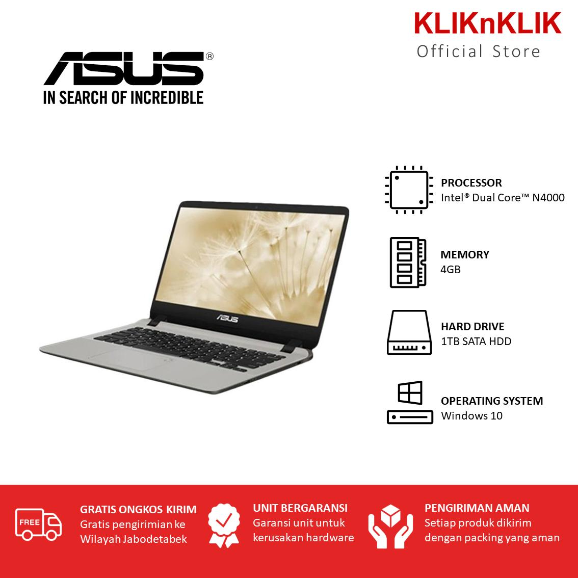 ASUS VivoBook A407MA-BV002T - RAM 4GB - Intel N4000 - HDD 1TB - 14 Inch - Windows 10 - Gold - Laptop Murah