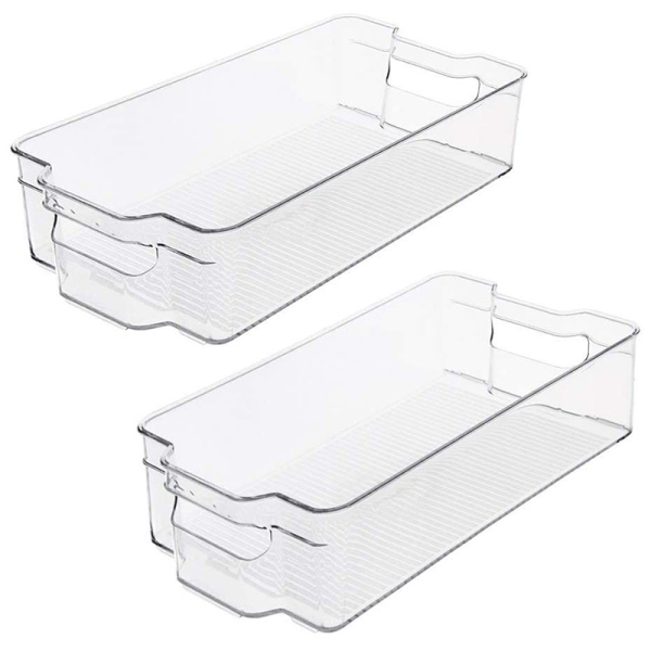 Stackable Plastic Storage Bins Organizer - 2 Pack, Clear Pantry Organization with Handles For Kitchen, Freezer