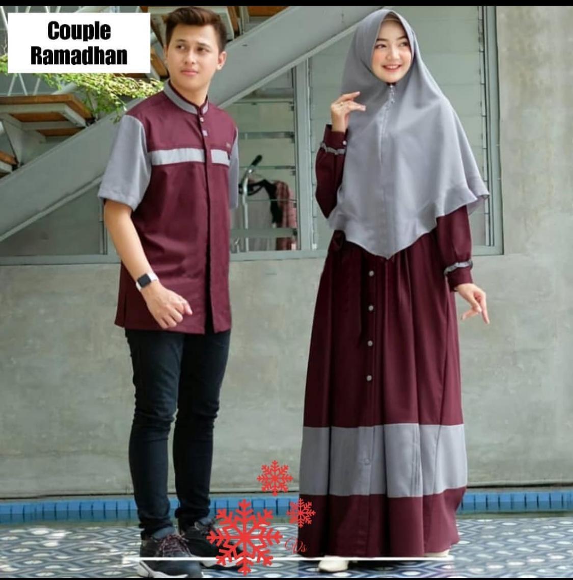 Termurah!!! dan COD Fazza Store CP Ramadhan couple baju couple polos gamis  baju couple polos lengan panjang model baju couple polos terbaru baju