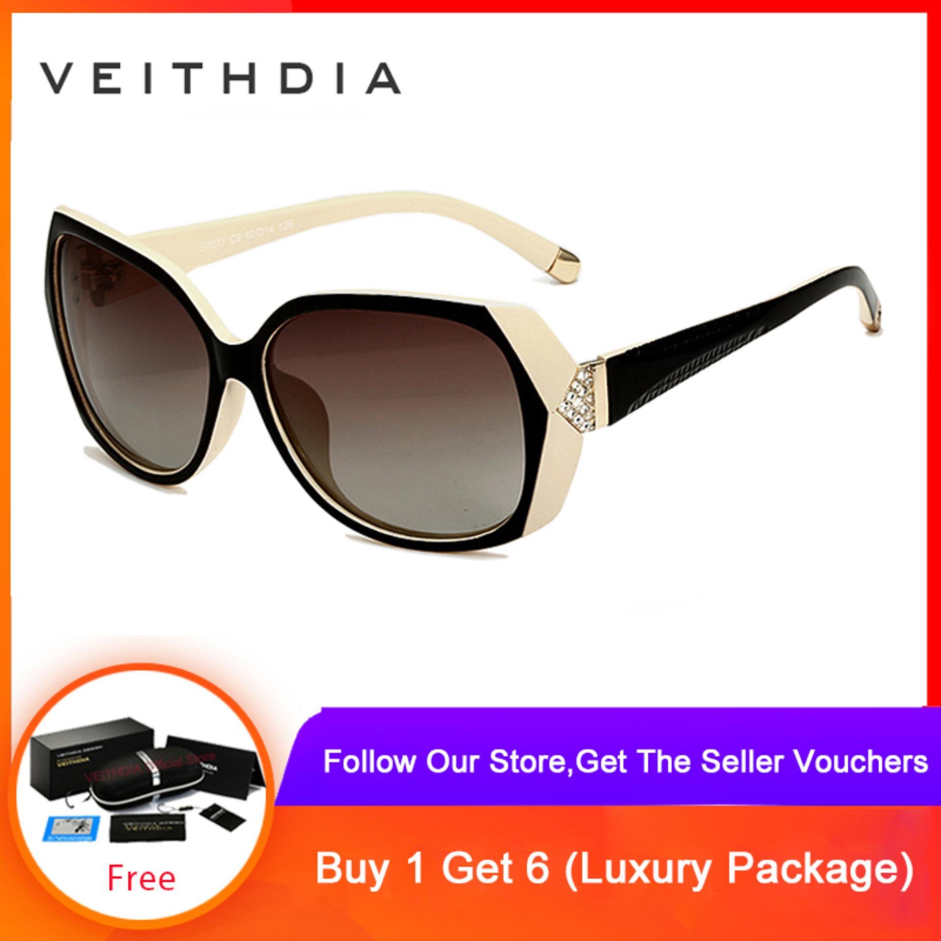 COD+Pengiriman Gratis VEITHDIA Kacamata Hitam TR90 Retro Lensa Berlian Ukir Polarisasi untuk Wanita 7011