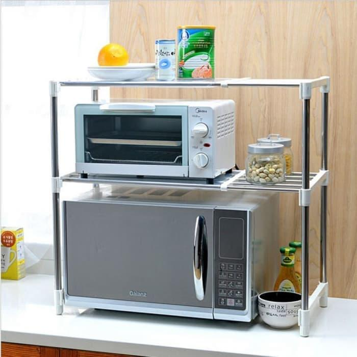 Microwave Storage Rack Rak Portable Serbaguna 2 Susun By Gogo Shop.