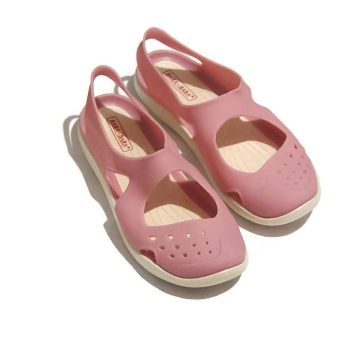 Sandal Flat Jelly Bara Bara Terbaru - Sepatu Sandal Tali Belakang Import HZ6008 Warna Dikirim Random