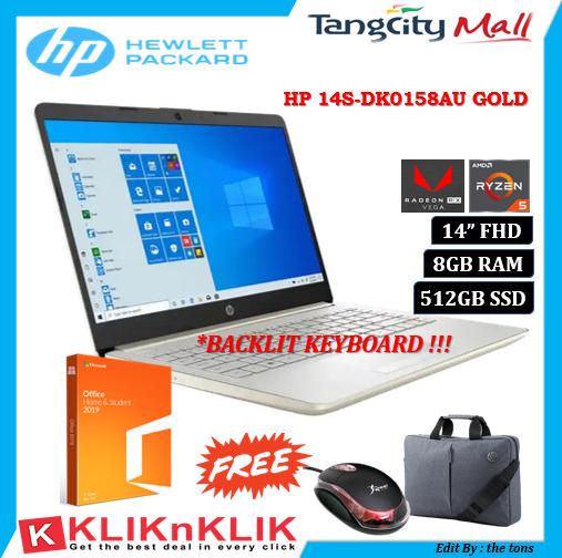 Laptop Hp Terbaru 2020 14s Dk0157au Dk0158au Amd Ryzen 5 5300u 8gb 512gbssd Vega 8 Fhd Win10 Ohs Lazada Indonesia
