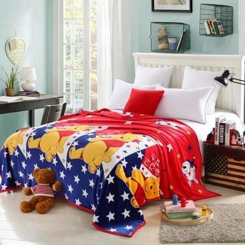 Grosir Murah Selimut Anak Anak Karakter Winnie The Pooh Uk.150x200 cm Bulu Lembut Halus Import Kualitas Premium