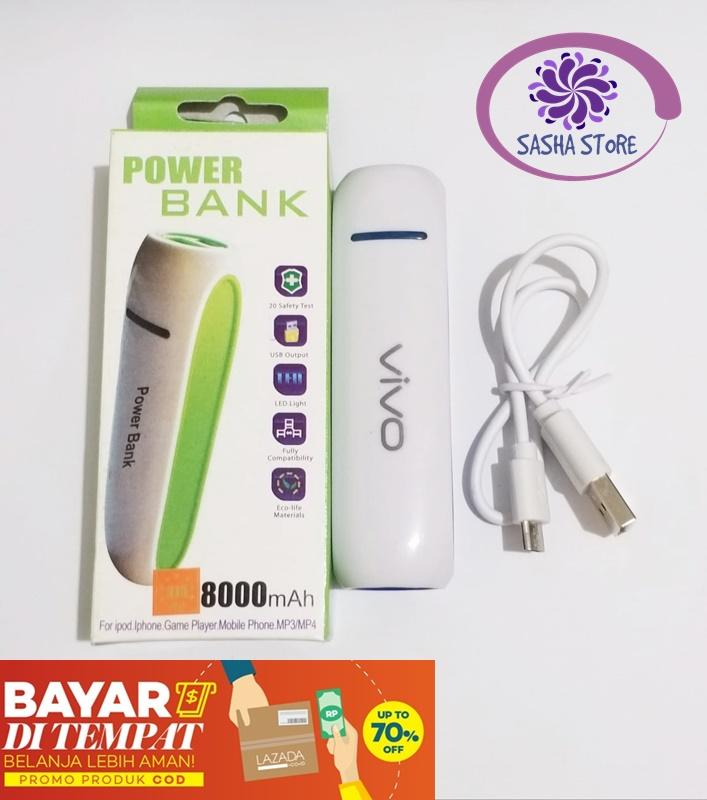SS Powerbank Mini 8000mah FREE 1 pcs Kabel Charger Power Bank Vivo Oppo Samsung Xiaomi 8000 mAh Powerbank 1 Output - Random Color