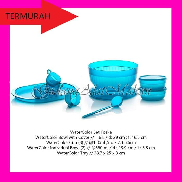 Tupperware WaterColor Set Toska wadah es buah bertutup dengan gelas