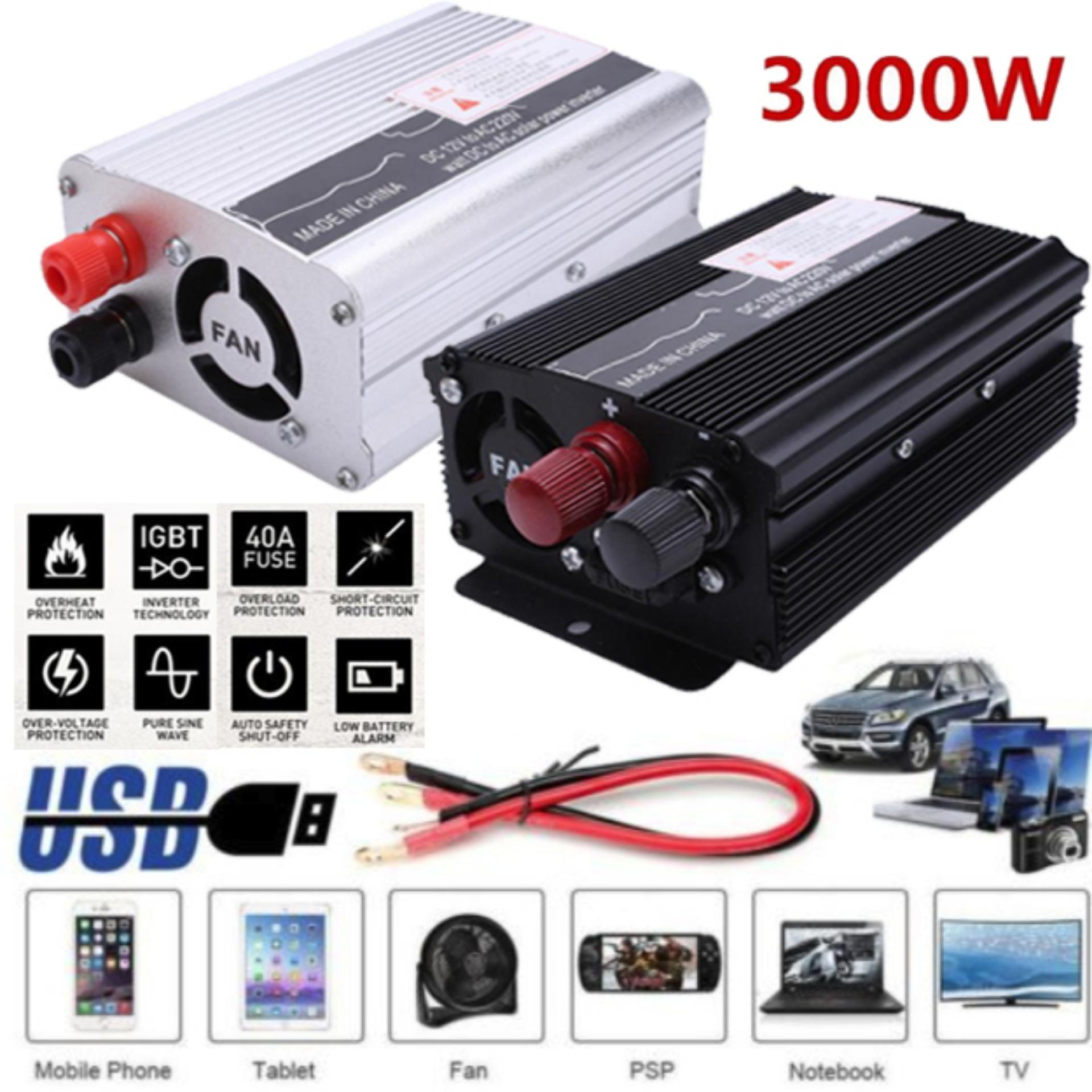 Bestprice-3000w Peak Dc 12v To Ac 220v Solar Power Inverter Converter Usb Output Stable O9 - Intl By Bestprice2015.