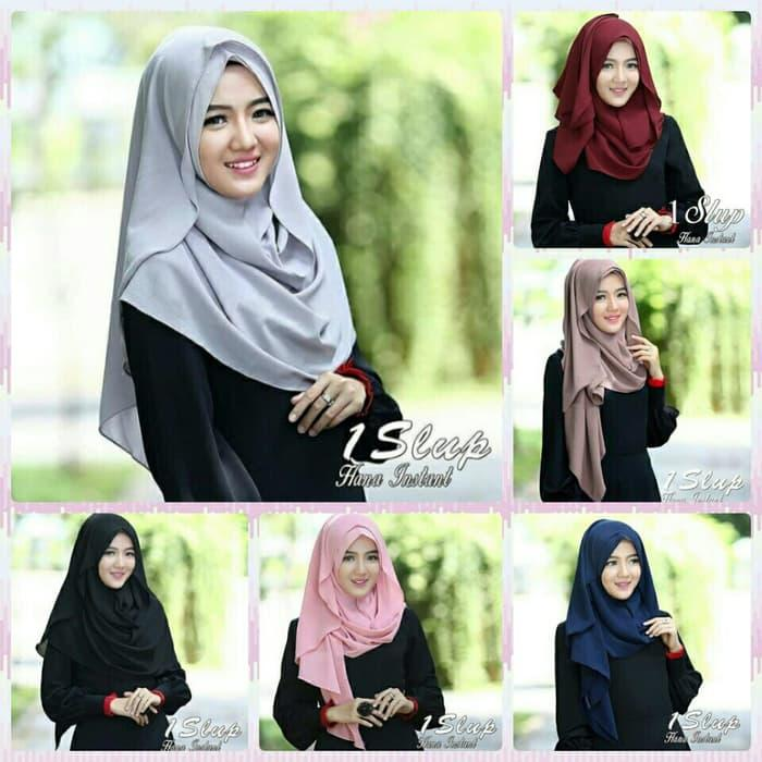 Kerudung/Jilbab 1Slup Hana Instant Hijab pashmina instant model 1 slu / DZA Laris Fashion
