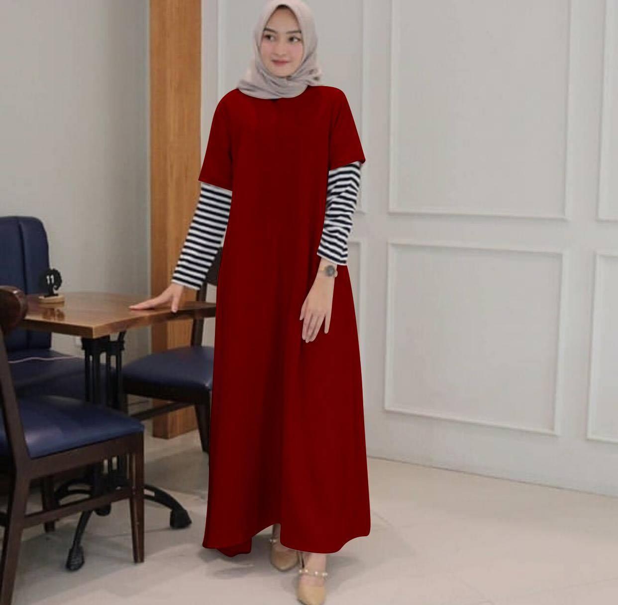 Labelledesign MAXY DRESS MUSLIM SABYAN QUEENA DRESS WANITA BAJU MUSLIM JUMBO BIG SIZE SALUR