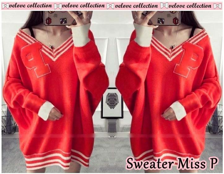 VE SWEATER MISS P Blouse Wanita / Atasan Wanita / Fashion Wanita / Blouse Korea / Top Wanita / Baju