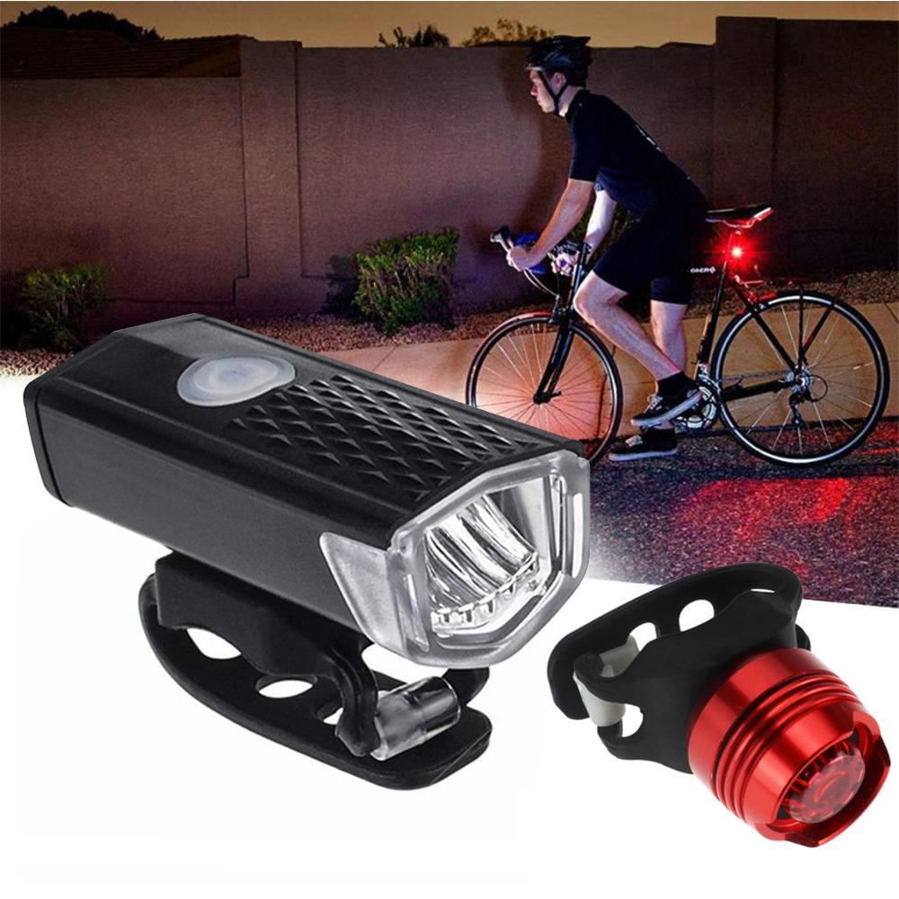 【Codpre-Hàng Chất Lượng Inspection】 Siêu Sáng XPE LED 3W Chống Nước Núi Xe Đạp Đen Đèn Trước Đỏ Cảnh Báo An Toàn đèn Đuôi Xe Tích Hợp Pin Sạc USB