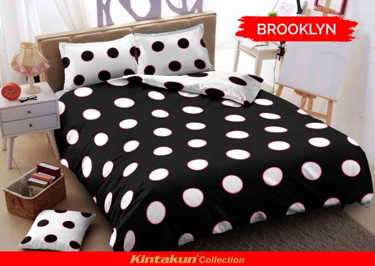 Sprei Kintakun D'luxe KASUR NO 4 motif BROOKLYN Ukuran 100x200 Single Size polkadot hitam putih min