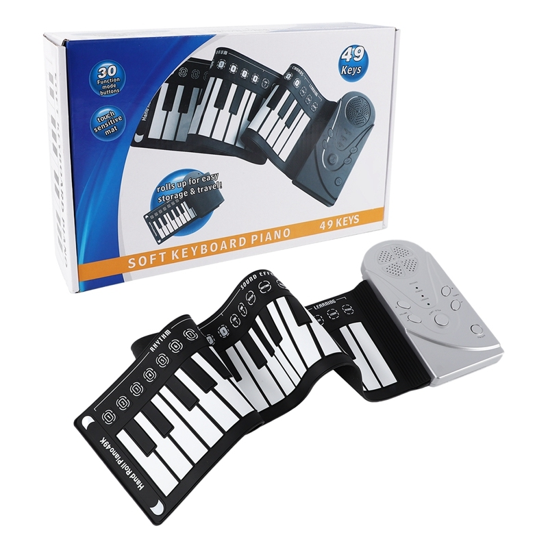 Portable Roll-Up Keyboard Piano 49-Key Electronic Children Hand-Rolled Keyboard